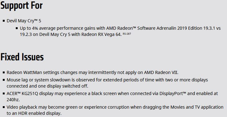 AMD Radeon Adrenalin 2019 19 3 1, optimisations pour Devil May Cry 5