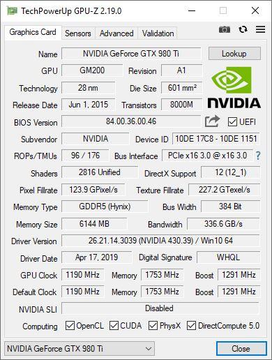 GPU-Z 2.19.0 Nvidia GTX 980 Ti