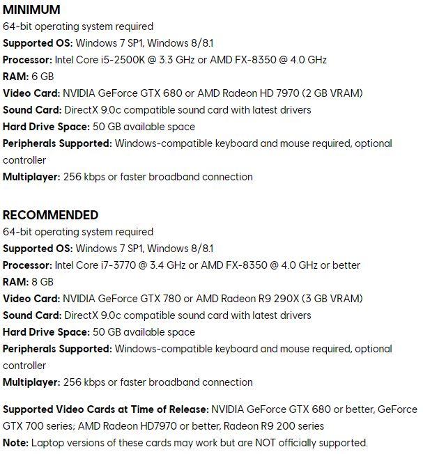 Configurations recommandée Assassin's Creed Unity