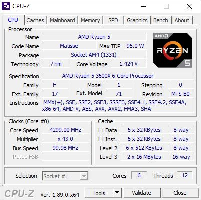 AMD Ryzen 5 3600X Overclocking à 4,3 GHz