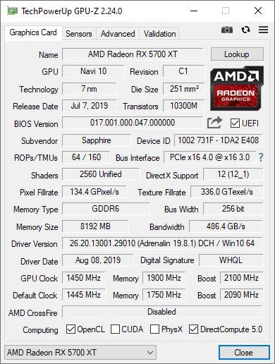 Sapphire Radeon RX 5700 XT Pulse - Overclocking - GPUZ