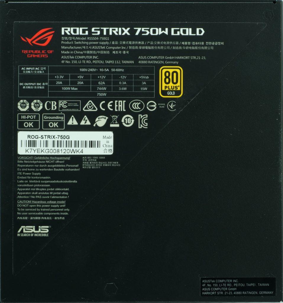 Alimentation Asus ROG Strix G 750 dessous
