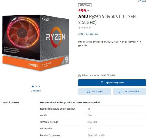 Prix et date de lancement du AMD Ryzen 9 3950X