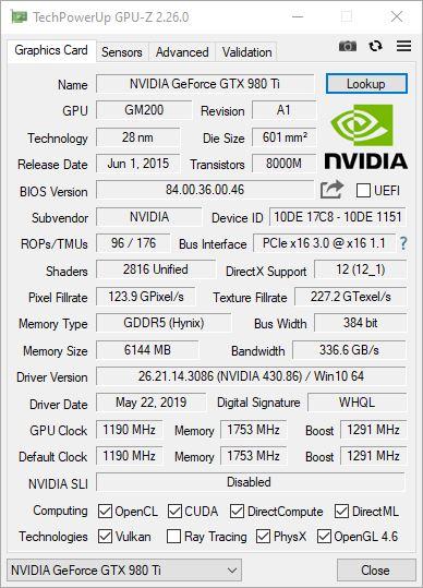 GPU-Z 2.26.0 Nvidia GTX 980 Ti