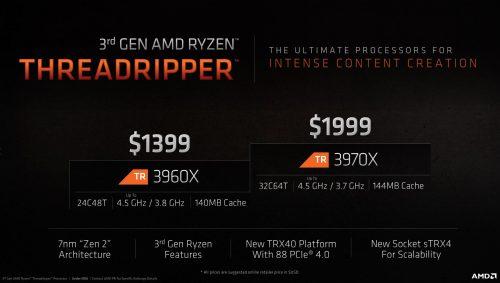 AMD Threadripper 3960X et 3970X