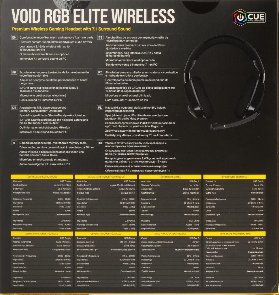 Corsair Void RGB Elite Wireless boite