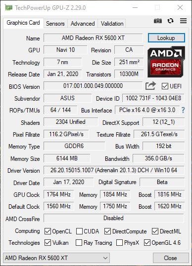 Asus ROG Strix RX 5600 XT TOP GPUZ Overclocking