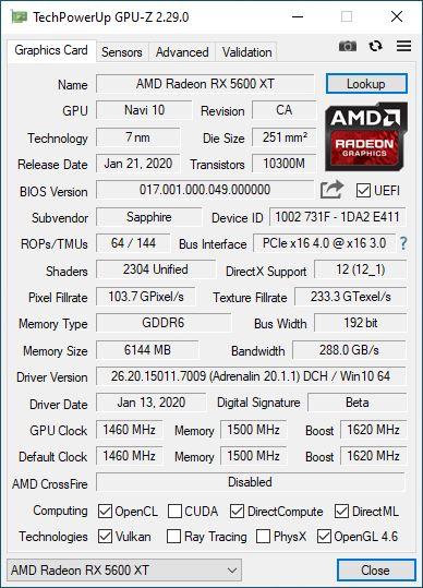 Sapphire Radeon RX 5600 XT Pulse Quiet GPUz