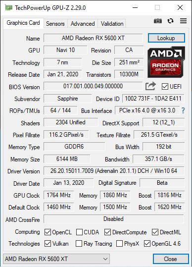 Sapphire Radeon RX 5600 XT Pulse Quiet GPUz Overclocking