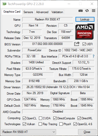Powercolor RX 5500 XT 8 Go Red Dragon fréquences overclocking