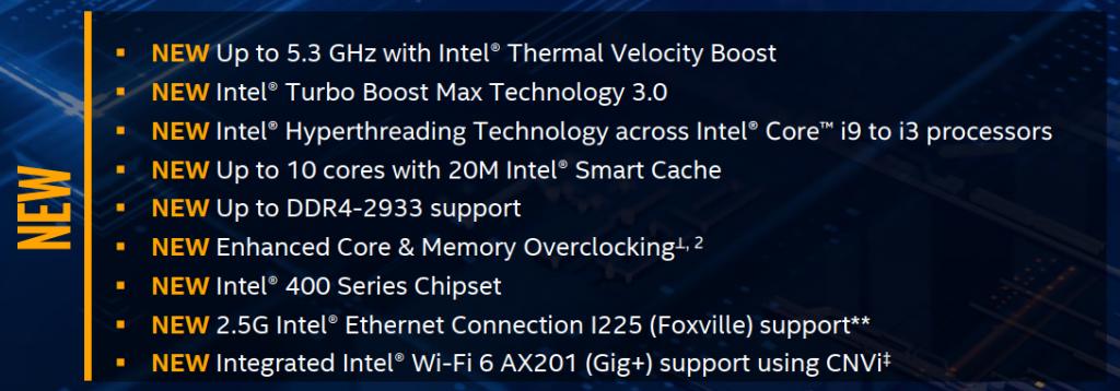 nouveautés Intel Core 10000