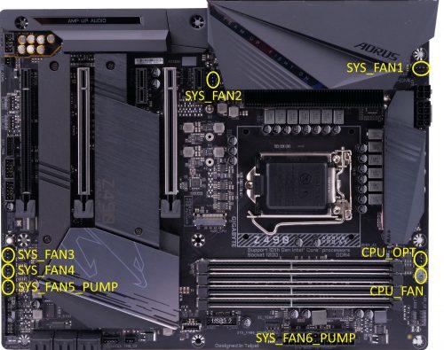 Gigabyte Z490 Aorus Pro AX 4-pin headers