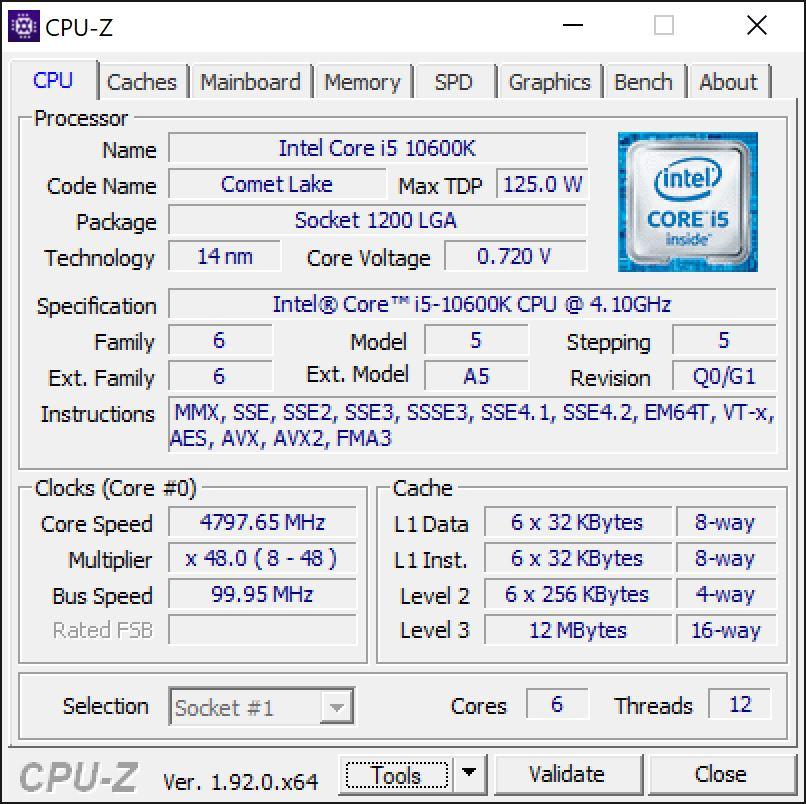 Intel Core i5 10600K CPU-Z