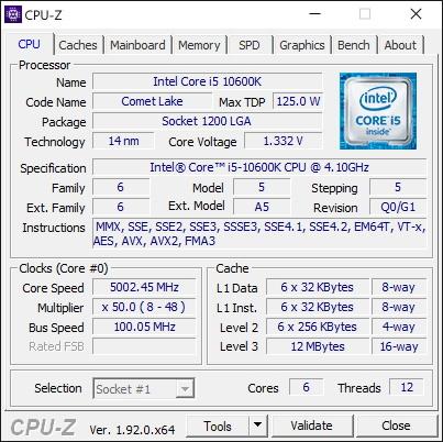 Overclocking Intel Core i5 10600K @ 5 GHz