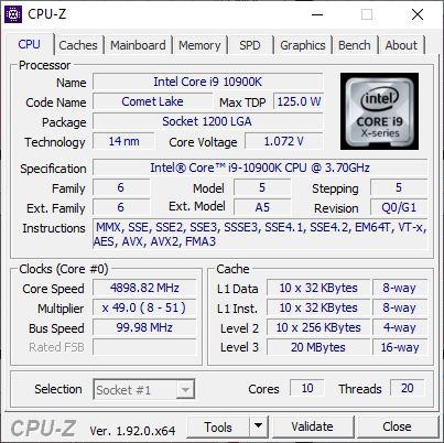 Intel Core i9 10900K CPU-Z