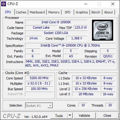 Overclocking Intel Core i9 10900K @ 5,2 GHz