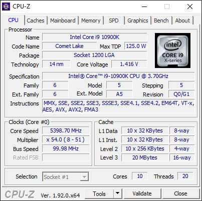 Overclocking Intel Core i9 10900K @ 5,4 GHz non stable