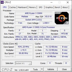 AMD Ryzen 3 3300X CPU-Z