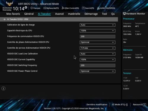Réglages BIOS Asus TUF Gaming B550M-Plus WiFi