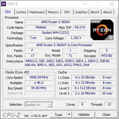 AMD Ryzen 5 3600XT overclocking 4,6 GHz