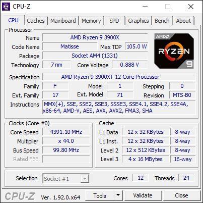 AMD Ryzen 9 3900XT overclocking 4,4 GHz