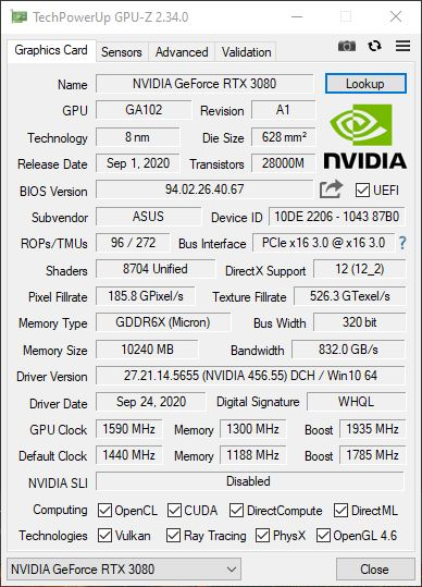 Asus TUF Gaming RTX 3080 OC GPU-Z Overclocking
