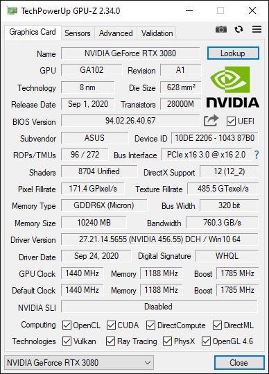 Asus TUF Gaming RTX 3080 OC GPU-Z fréquences d'origine