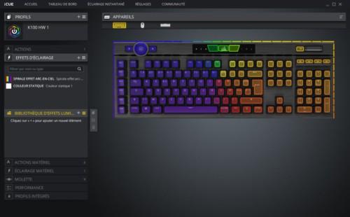 Corsair K100 RGB réglages iCUE