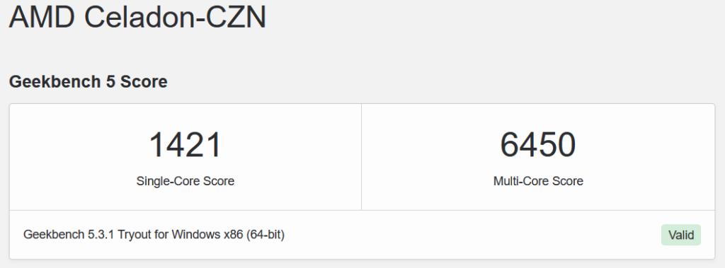 Score GeekBench 5 AMD Ryzen 7 5800U