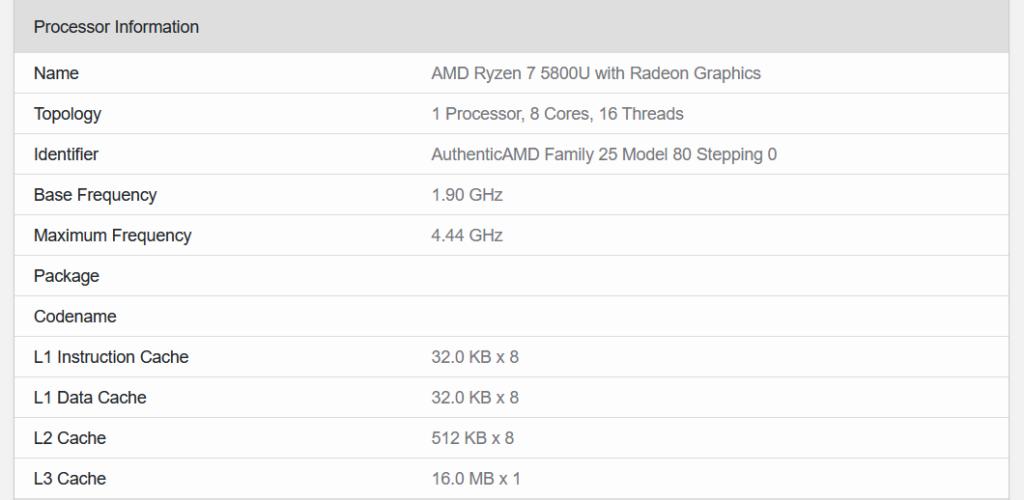 AMD Ryzen 7 5800U caractéristiques