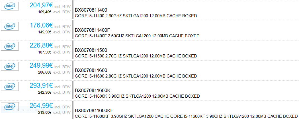 Prix Intel Core i5-11400, Core i5-11500, Core i5 11600K