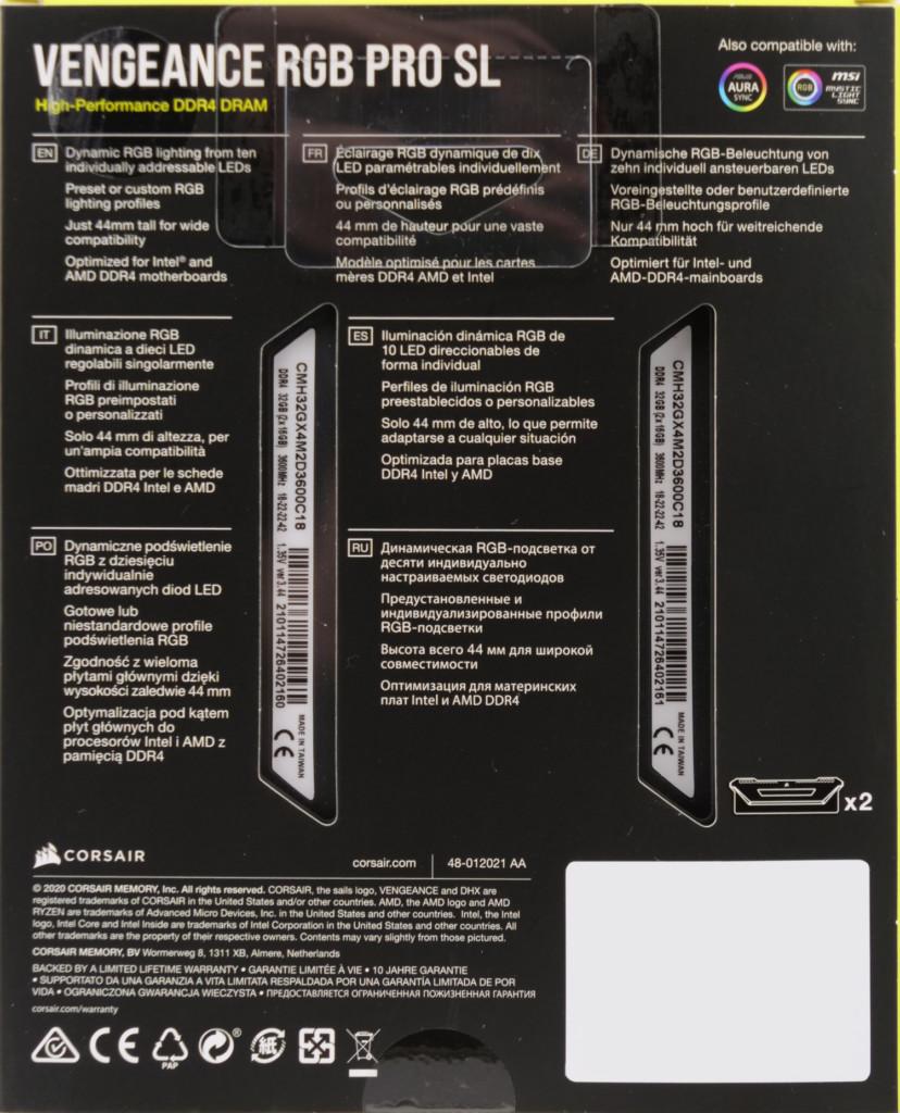 Corsair Vengeance RGB Pro SL boite 2