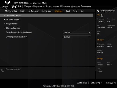 Asus TUF Gaming Z590-Plus WiFi Gaming BIOS Monitor