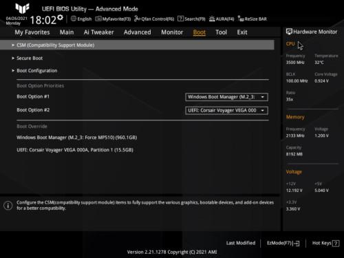 Asus TUF Gaming Z590-Plus WiFi Gaming BIOS Boot