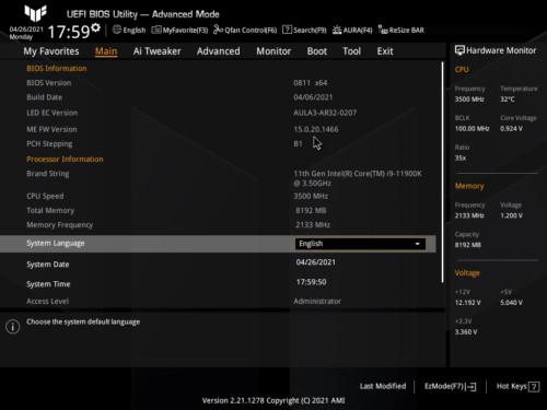 Asus TUF Gaming Z590-Plus WiFi Gaming BIOS Accueil