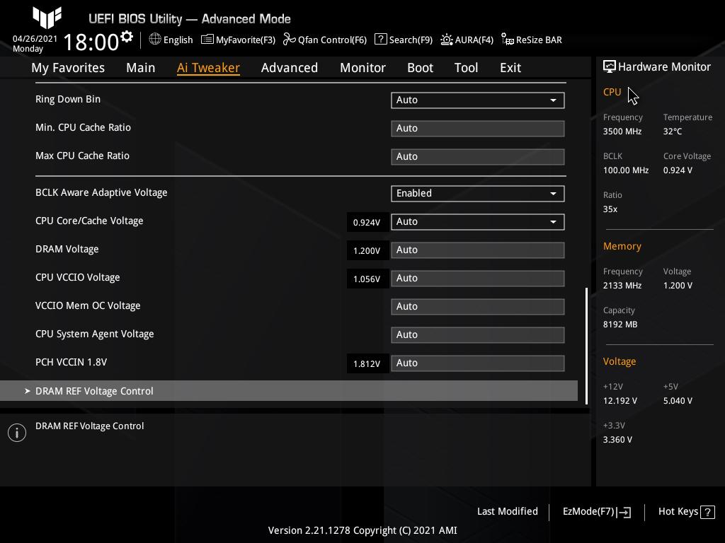Asus TUF Gaming Z590-Plus WiFi Gaming BIOS Ai Tweaker