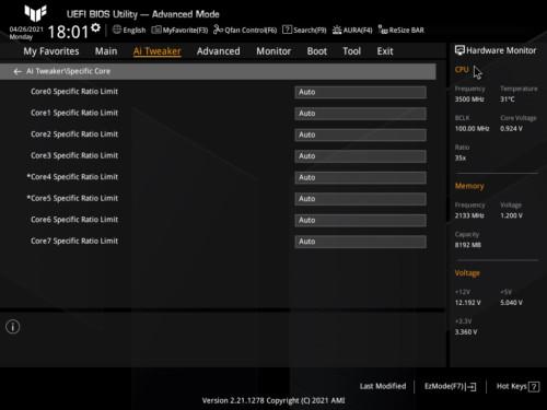 Asus TUF Gaming Z590-Plus WiFi Gaming BIOS Specific Core