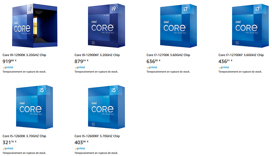 Prix Intel Core i5-12600K, Core i7-12700K et Core iç-12900K