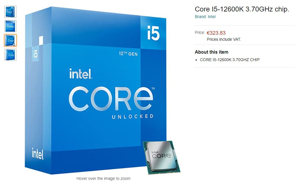 Prix Intel Core i5-12600K