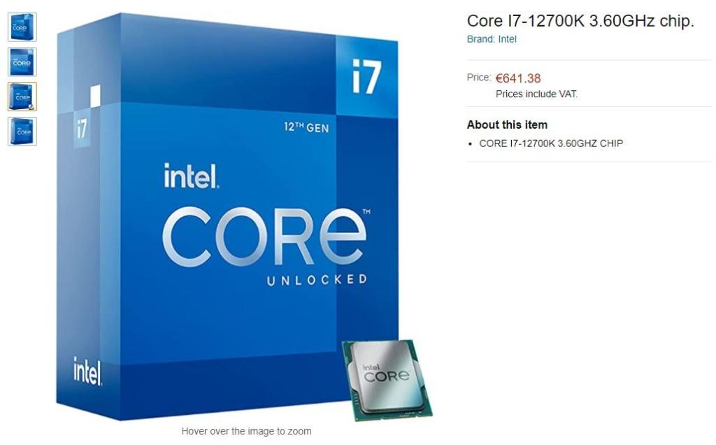 Prix Intel Core i7-12700K